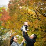 色づいた木々とお子さんに癒されました